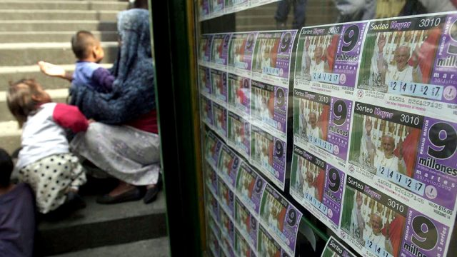 Tickets at a lottery stand in Mexico City