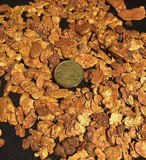 """Watermelon seed"" gold nuggets dug out of Purdy's Reward near Karratha, WA. Pic: Artemis"