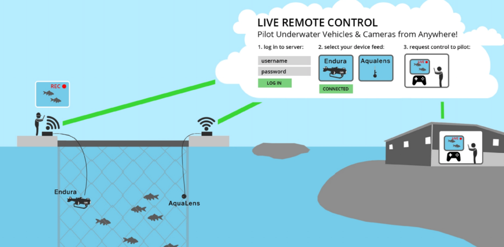 Remote control tech allows pilots to control underwater drones from anywhere. Pic: Aquabotix.