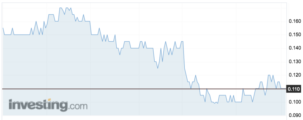 Yowie (YOW) shares over the past month.