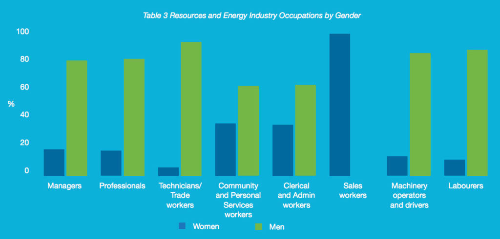 Employees in the resources and energy industries by gender.