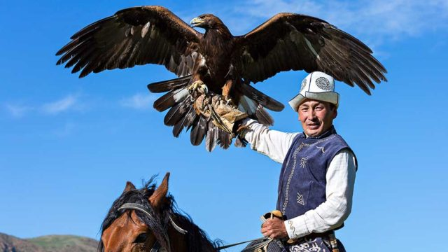 A golden eagle trainer during eagle hunter games in Issuk Kul Lake, Kyrgyzstan. Pic: Getty