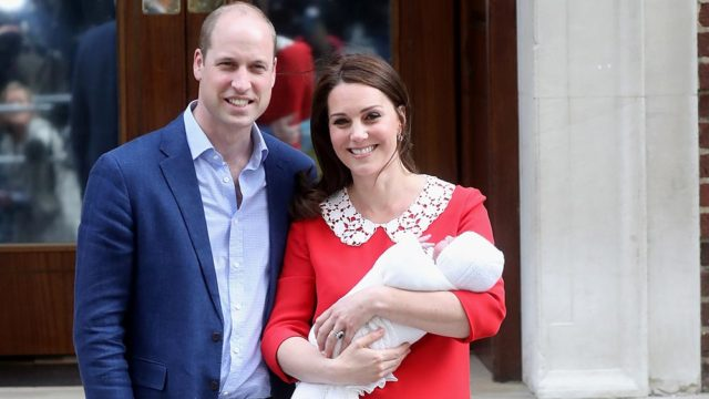 Prince William and Catherine Duchess of Cambridge show off the newest member of the Royal family on Monday. Pic: Getty