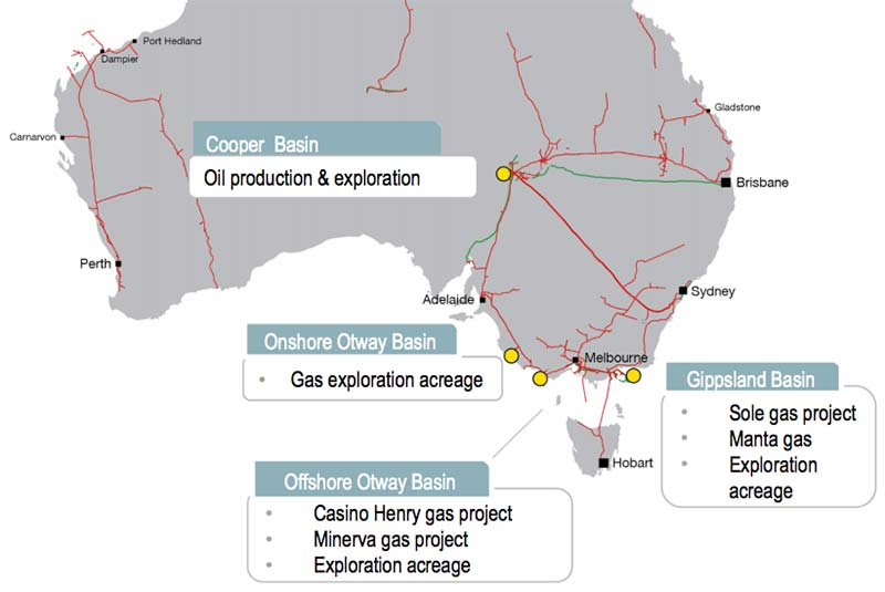 A map of Cooper Energy's projects