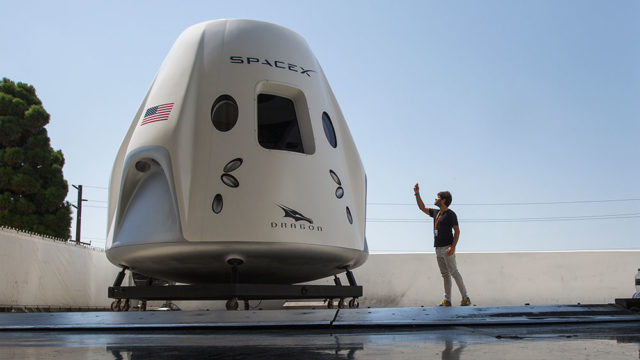 Mock up of the Crew Dragon spacecraft during a media tour of SpaceX headquarters. Pic: David McNew/Getty
