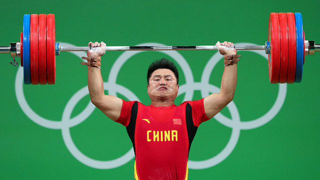 Weight-lifter Zhe Yang of China at the Rio 2016 Olympic Games in Rio de Janeiro, Brazil. Pic: Getty