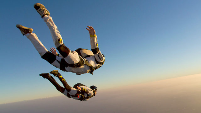 Two skydivers exit a plane. Pic: Getty