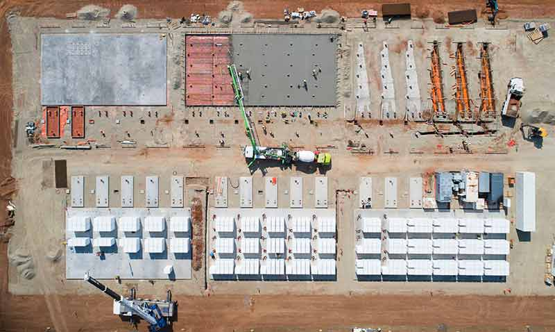 Tesla's big battery in South Australia under construction in 2017.