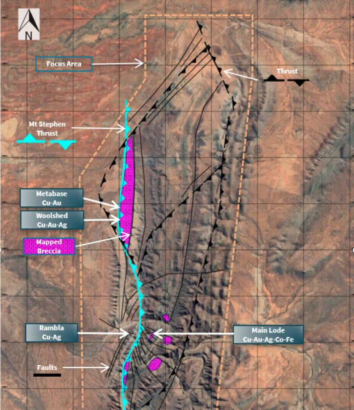 The Warrakimbo Ranges IOCG target area showing mapped breccias associated with the Mt Stephen Thrust